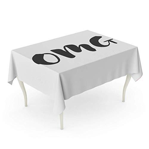 LIS HOME Rechteck-Tischdecke Bunte Abkürzung Hand gezeichneter Wort-Bürsten-Stift-Beschriftungs-Phrasen-OMG Chat-Kommunikations-Zeichnungs-Tischdecke