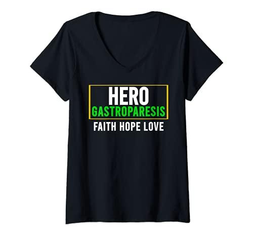 Mujer Camisa de conciencia gastroparesia - Héroe de conciencia de la gastroparesia Camiseta Cuello V
