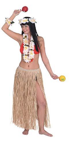 O39912 Natur - Disfraz hawaiano con falda de rafia hawaiana para mujer