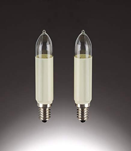Preisvergleich Produktbild Hellum 905045,  Ersatz-Schaftkerze Aussenbeleuchtung,  Sockel E 14,  16 V / 7 W,  elfenbein,  2 auf Blisterkarte