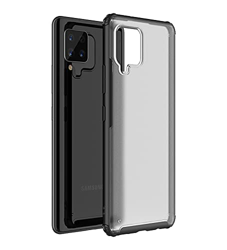 Golden Sand for Samsung Galaxy M42 5G Mobile/Samsung A42 Cover – Rugged Frosted Semi Transparent PC Shockproof TPU Back Case for Samsung M42, Black