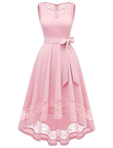 Gardenwed Elegant Spitzenkleid Floral Cocktailkleid Ohne Arm Abendkleid Rundhals Knielang Rockabilly rosa Kleid Pink 2XL