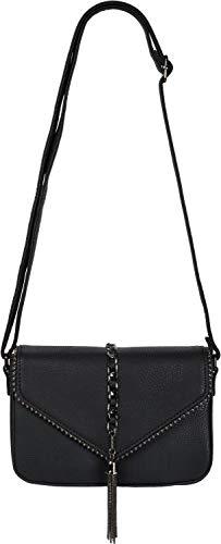 styleBREAKER Damen Umhängetasche im Envelope Design mit Kugel-Nieten, Kette und Quaste, Schultertasche, Handtasche, Tasche 02012274, Farbe:Schwarz