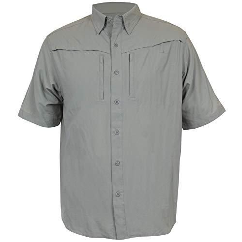 HABIT Men's Short Sleeve Travel Shirt, Shadow, Large