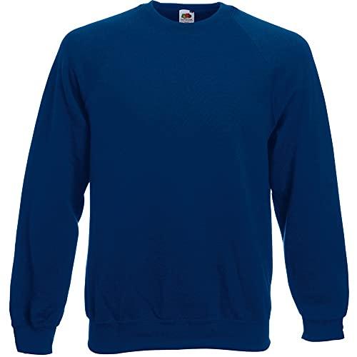 Fruit of the Loom Raglan Sweatshirt, Felpa Uomo, Blu (Navy), X-Large