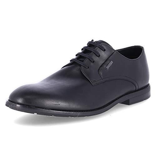 Clarks Ronnie Walk GTX, Zapatos de Cordones Derby Hombre, Piel (Piel Negra), 43 EU