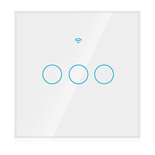 WiFi touchscreen-schakelaar, draadloze wandschakelaar met afstandsbediening, enkele cirkel voor Alexa intelligente spraakassistent 3-weg AC 100-250 V (EU)