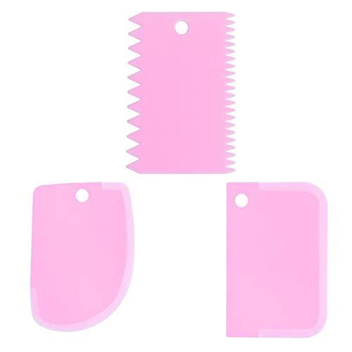 xingxing 3 Stück / Lot Teig Kuchen Cutter Slicer Spatel für Kuchen Creme Schaber Pasty Cutter Schaber Unregelmäßige Zähne Kante DIY Glätter (Farbe: Rosa)