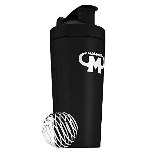 Mammut Nutrition Edelstahl Eiweiß Protein Shaker mit integrierten Sieb und Spiralball - black
