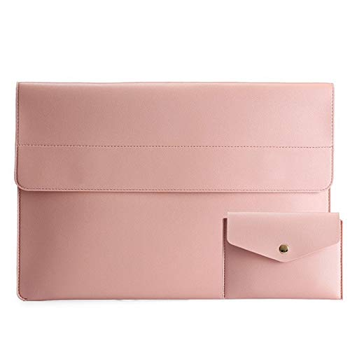 Monland Laptop Case 13 Inch Light PVC Leather Laptop Bags Waterproof Messenger Carrying Bag for Women Pink