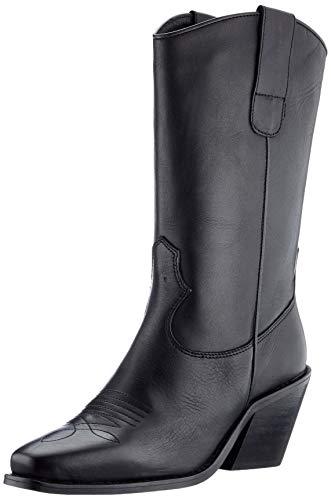 VERO MODA VMASA Leather Boot, Botas Cortas al Tobillo Mujer, Negro, 39 EU