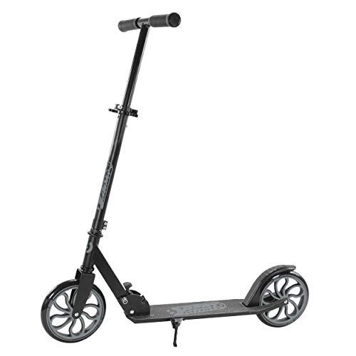 Best Sporting Scooter 200er Rolle, dreifach höhenverstellbarer 82-87 - 92 cm Kickscooter, Tretroller mit Ständer in den Farben: schwarz, Silber oder weiß (schwarz/grau