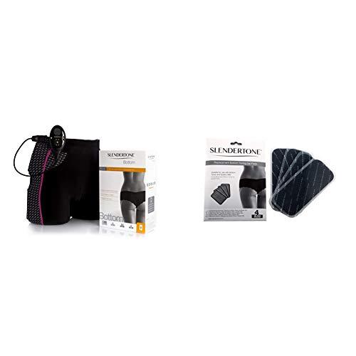 Slendertone Short Bottom Electroestimulador para glúteos Mujer, Negro/Rosa + Bottom - Electrodos de Repuesto para Mini Bottom Toning System, 4 Unidades