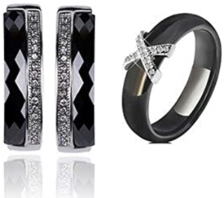 Duccis Jewelry Sets - Healthy Ceramic Zircon Jewelry Sets for Women Russian Lock Earrings Black White Ceramic Rings Wedding Jewelry Gift bijoux Femme - (Metal Color: Black Color, Ring Size: 12)