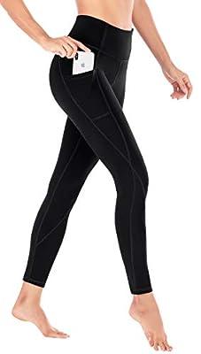 Heathyoga Yoga Pants for Women with Pockets High Waisted Leggings with Pockets for Women Workout Leggings for Women Black
