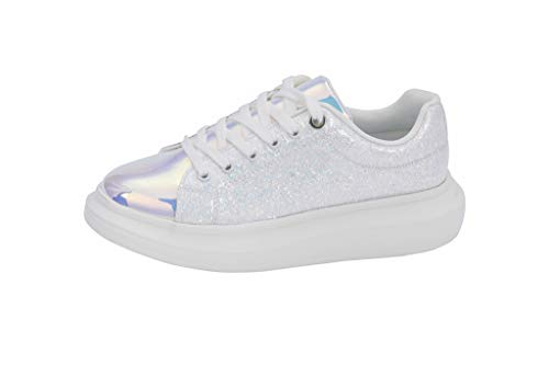 LUCKY-STEP Women Fashion Walking Shoes | Lace Up Closed Glitter Sparkle Round Toe Platform Sneakers (White,9 B(M) US)