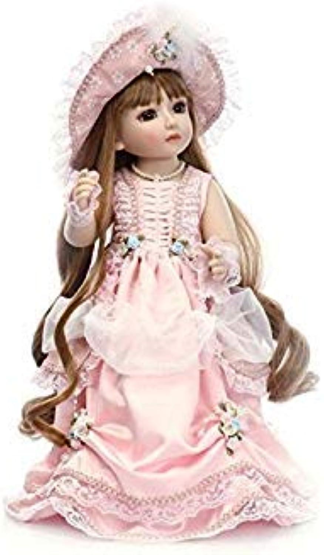 QXMEI Reborn Baby Cute Girl Toy Regeneration Soft Doll 18 Inch 45 Cm Realistic golden Long Hair Princess White Dress Rebirth Doll