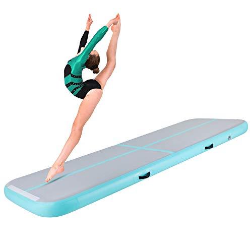 Y-NOT Aufblasbare 400 x 100 x 20 cm Tumbling Matten Gymnastikmatte Turnmatte Bodenmatte Inflatable Yogamatte Trainingsmatte Taekwondo Yoga (Grün, 400 x 100 x 20 cm)
