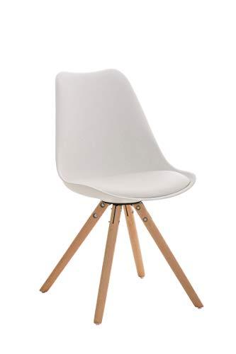 CLP Retrostuhl PEGLEG mit hochwertiger Polsterung und Kunstlederbezug I Schalenstuhl mit Holzgestell und Einer Sitzhöhe von: 46 cm, Farbe:weiß, Gestell Farbe:Natura
