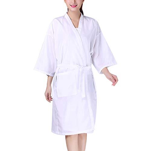 Minkissy SPA mantel badjassen dames heren kimono badjas haarsnit haar styling haarkleuring schort kleding kapsalon spa schoonheidssalon thuis salon (wit)