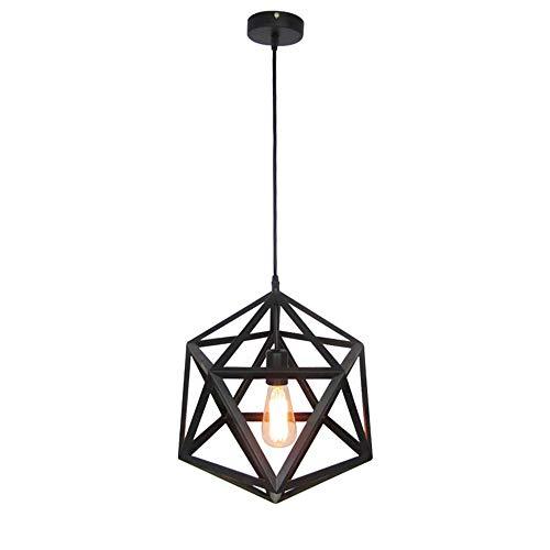HJW Retro Vintage Colgante Luz de Hierro Negro Diamante Lámpara de Lámpara de Lámpara de Araña Antigua para la Isla de la Cocina Colgante de Iluminación de una Sola Altura Ajustable E27 Lámpara Base