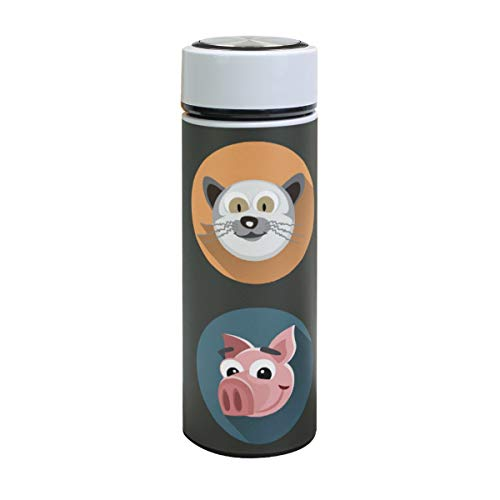 XiangHeFu Travel Mug Leak Proof Cartoon Grappige dieren koppen houden koud of warm 17oz thermoskan koffie sport waterfles