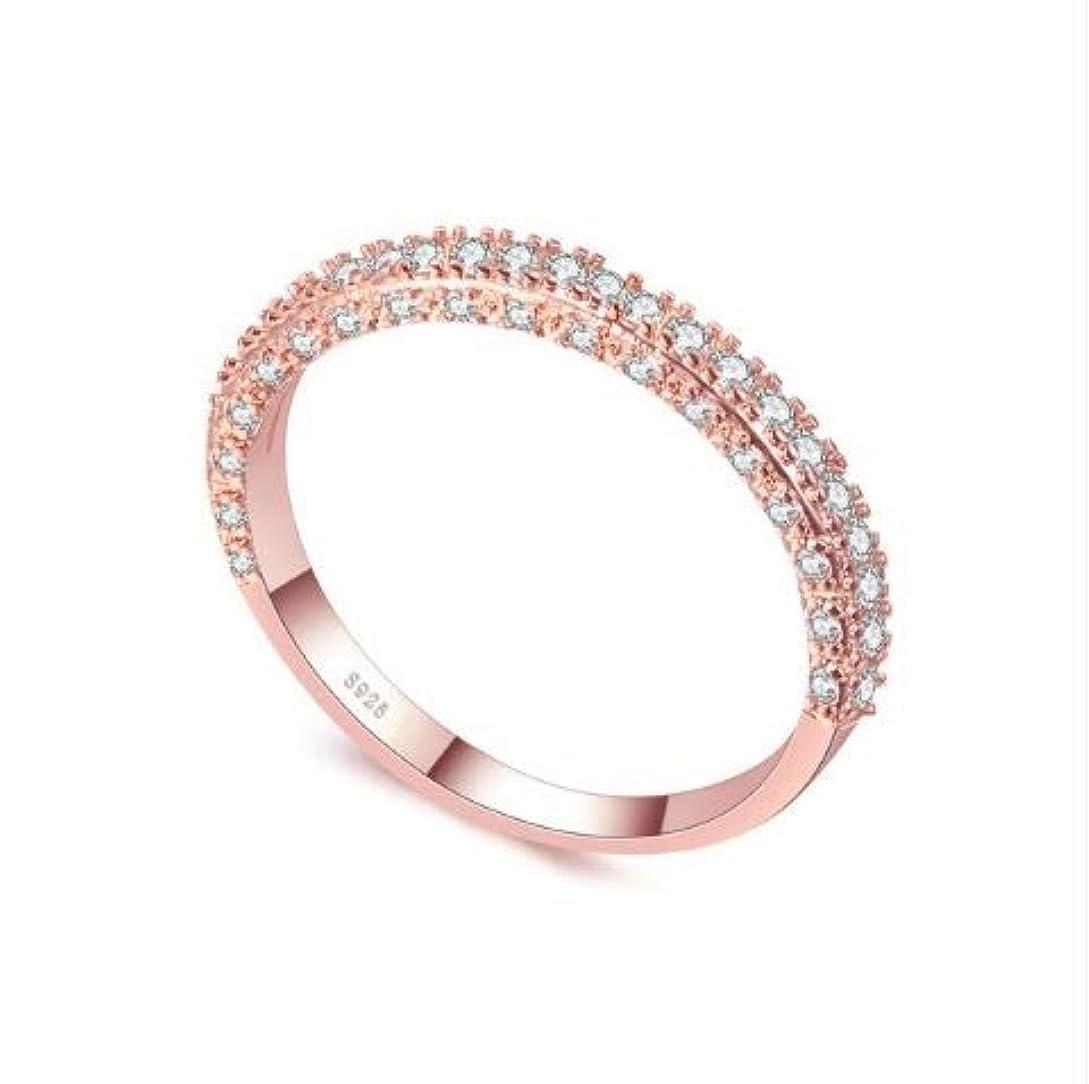 カウンターパートシンカンアトラスWTYD ファッションアクセサリー 女性ファッションキュービックジルコニアの結婚式の婚約指輪のための二重列、リングサイズ:7(ラウンドホワイトゴールド) アクセサリー (色 : Rose Gold Deputy Ring)