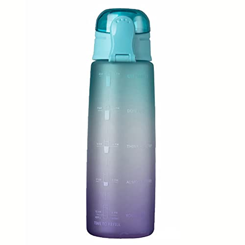 Botella de Agua de 900 ml Tapa de Rebote Botella de Agua con Escala y Boquilla de succión Verde a púrpura 10 * 3'