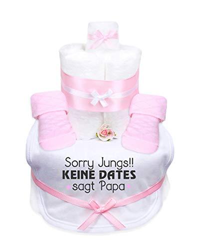 Trend Mama Windeltorte Mädchen,Babysocken + Lätzchen handbedruckt mit coolem Spruch -Sorry Jungs!! Keine Dates sagt Papa-Handmade