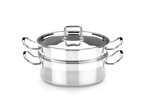 BRA Profesional - Set para cocinar al vapor con tapa, 24 cm, acero inoxidable 18/10