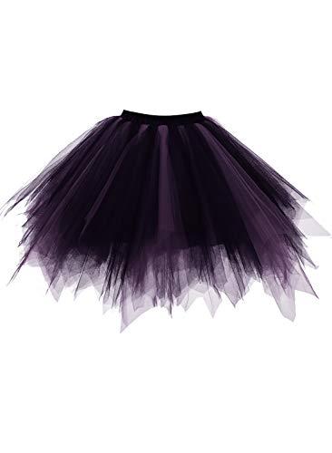 emondora Retro Short Tutu Skirt Petticoat Adult Fluffy Party Multi-Colored Ballet Costume Black/Purple Size XXL-XXXL