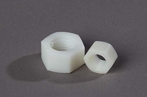25 x M4 tuercas de plástico PA/nailon, poliamida hexagonal, M4, color natural
