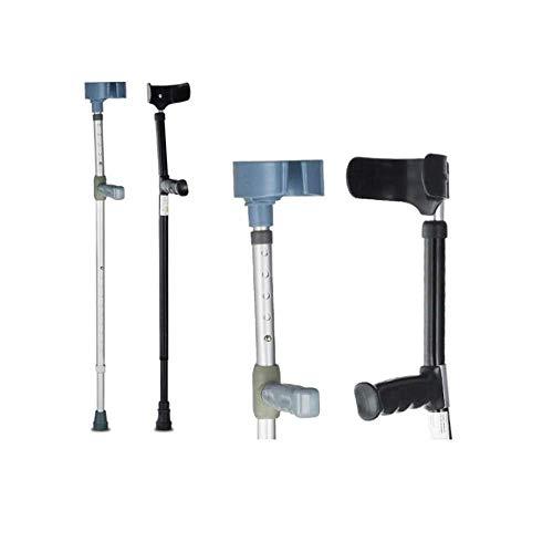 Muletas de codo: bastones de axilas ajustables, ligeras y estables, ajuste de altura doble, 10 posiciones, aleación de aluminio grueso, agarre de PVC, soporte de codo de ABS, adulto (plateado + negr