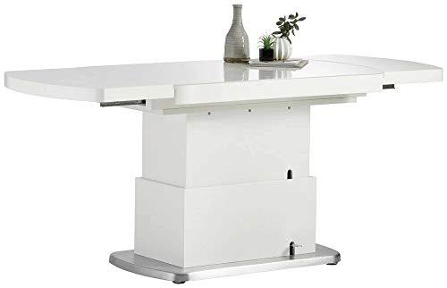Mesa de comedor de cocina de color blanco brillante con superficie de cristal extensible 120-180 cm