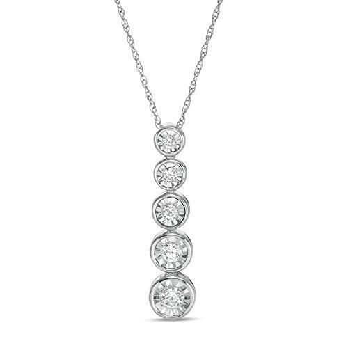 Colgante graduado de cinco piedras de diamante transparente de corte redondo D/VVS1 de 1/4 quilates, cadena de 45,72 cm en plata de ley 925