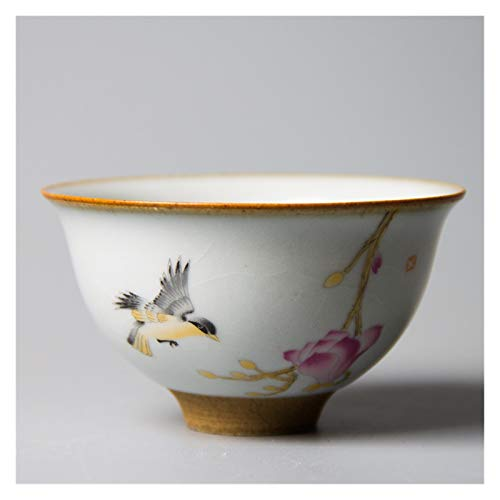 YANGYUAN Japanese Tea Cup, Retro Traditional Ceramic Cups, Flowers and Birds Pattern Teacup, Hand-drawn Ceramic Drinkware Handcrafted Gift, No Handles