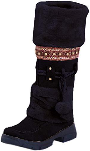 Minetom Winterstiefel Schneestiefel Damen Warm Gefüttert Plüsch Stiefeletten Schlupfstiefel Mode Böhmen Pom Pom Schuhe Stiefel Boots Schwarz 38 EU