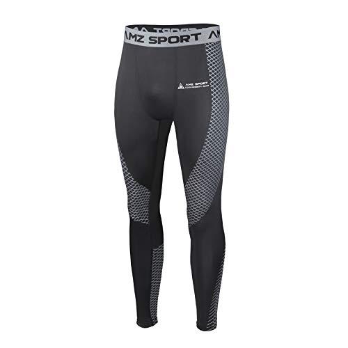 AMZSPORT Pantaloni Sportivi a Compressione da Uomo Leggings da Palestra Calzamaglia ad Asciugatura Rapida Argento, M