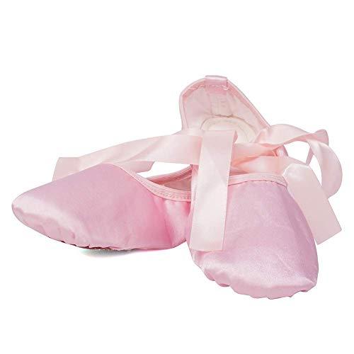 Buty do tańca Baletki dla dziewczynek/małych dzieci/dzieci -Satynowe baleriny Gimnastyka Mieszkania Podeszwa dzielona ze wstążką (kolor: czerwony, rozmiar: 13 UK)
