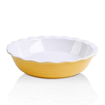 KOOV Ceramic Pie Pan, 10 Inches Pie Dish, Pie Plate for Dessert Kitchen, Round Baking Dish for Dinner, Wave Series (Yellow)