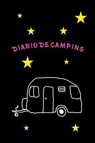 Cuaderno de diario de camping con dibujos de caravanas y estrellas -...