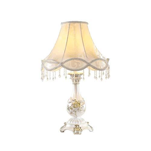 Lámpara de Mesa de Iluminación Decorativa Interior Lámparas de mesa de estilo princesa, puro blanco redondo tallada cuerpo de la lámpara, hecha a mano pantalla de la tela, LED Protección for los ojos