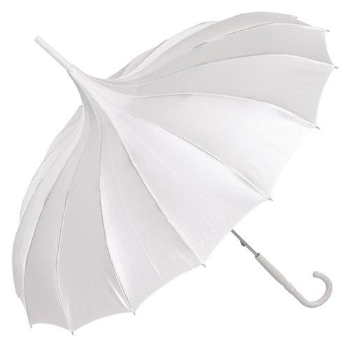 VON LILIENFELD Regenschirm Damen Sonnenschirm Brautschirm Hochzeitsschirm Pagode Cécile Satin, weiß