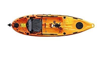 mako10-YO-D Riot Mako 10' ft Kayak with Impulse Pedal Drive, Deluxe, Yellow/Orange by Kayak Distribution