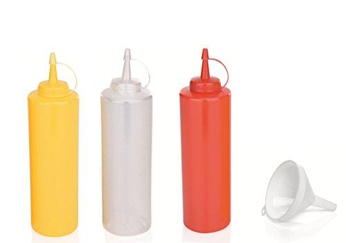 Kerafactum® – Set Bouteille souple pour Majo Moutarde Flacon recharge flacon doseur GARNIER collation Squeezebox Blanc Rouge et Jaune 700 ml avec entonnoir – Convient aussi comme Shaker à vinaigrette