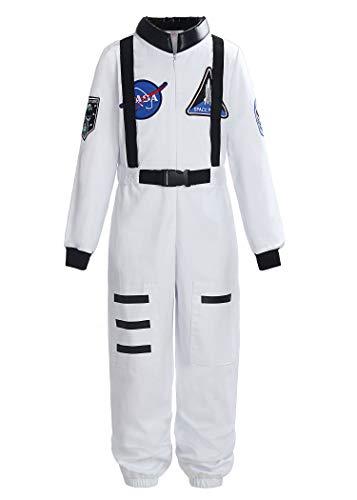 ReliBeauty Boys Girls Kids Children Astronaut Role Play Costume, White, 8