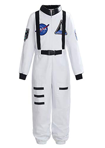 ReliBeauty Boys Girls Kids Children Astronaut Role Play Costume, White, 10