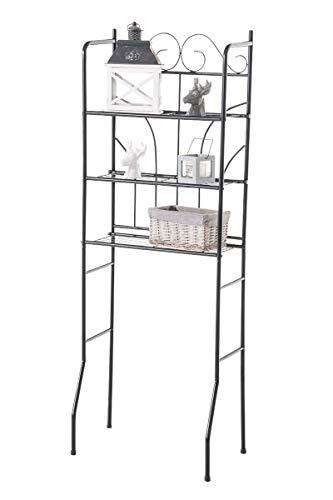CLP Überbau-Regal Pinar, Eisen Badregal ca. 60 x 35 cm, Höhe 165 cm, 3 Böden, Landhaus-Stil, Farbe:schwarz