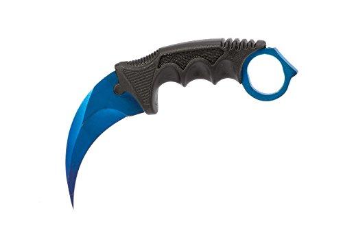 CSGO Karambit - Blue Steel - Real Knife Skin Scharf Counter-Strike Global Offensive Sammlerstück Jagdmesser - Bundle - Ariknives