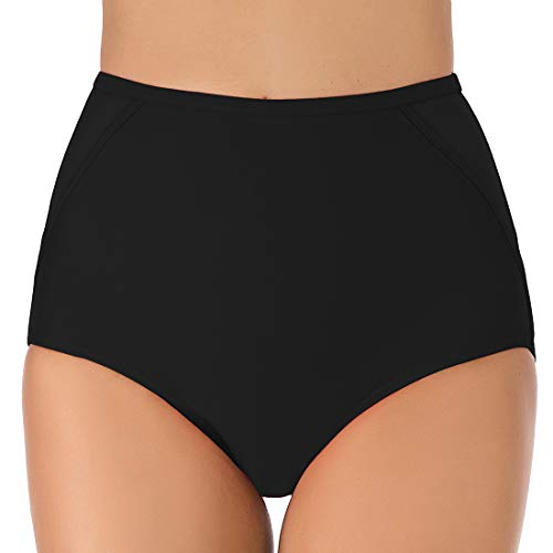 LAUSONS Bikini Hose Damen Bikinihose Bauch Weg Schwarz Bikini Unterteil Hoher Bund Bikinislips Schwarz Large
